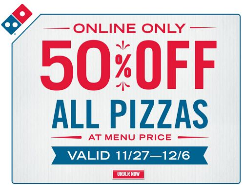 50% OFF All Pizzas At Dominos When You Order Online! - http://couponingforfreebies.com/50-off-all-pizzas-at-dominos-when-you-order-online/