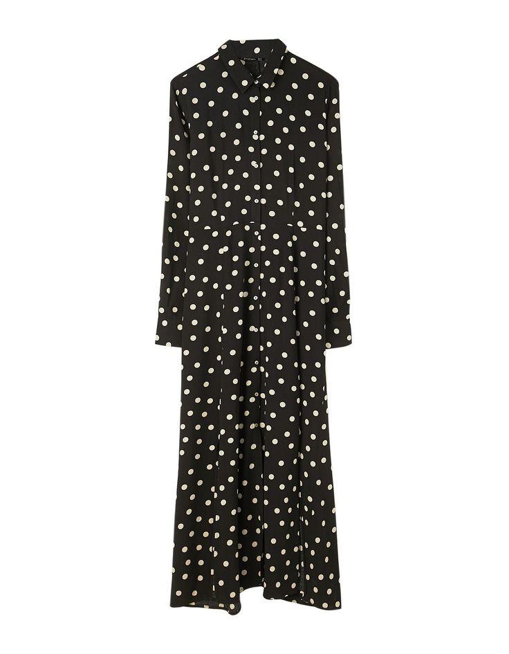 Długa sukienka koszulowa w kropki - NOWOŚCI | Stradivarius Polska - Winter Sale