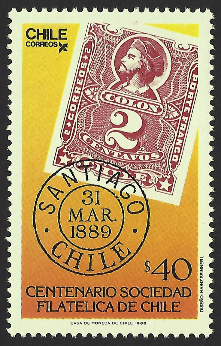 Chile Scott #803 (24 Nov 1988) Columbus stamp (Scott #38) on stamp commemorating the Centennial of the Philatelic Society of Chile.   Columbus' profile (head) appears on Chile Scott #1-57 (plus others).