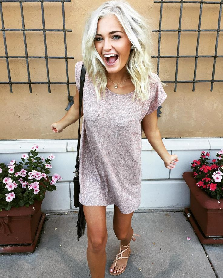 T-shirt dress and sandals.