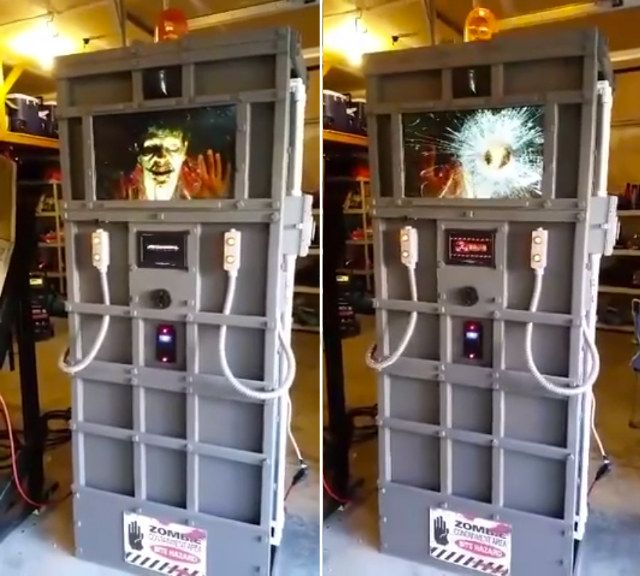 Animated Zombie Containment Unit Halloween Prop
