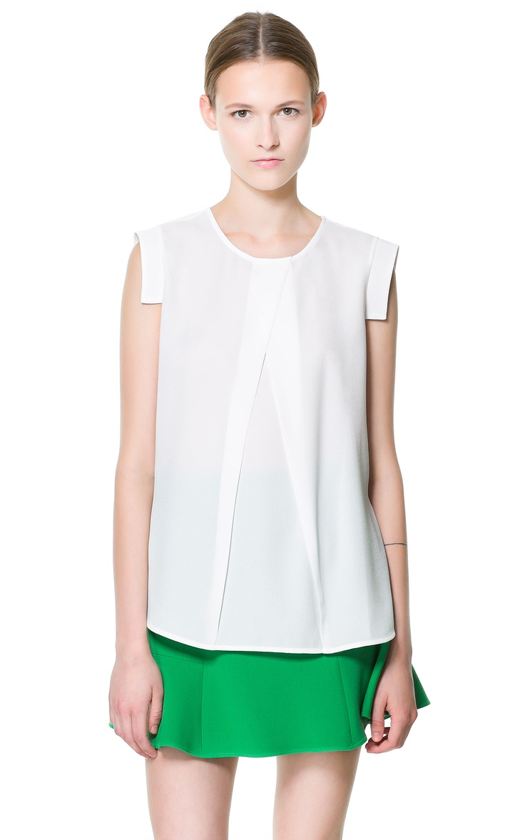 TOP WITH PLEATED FRONT  | ZARA $60