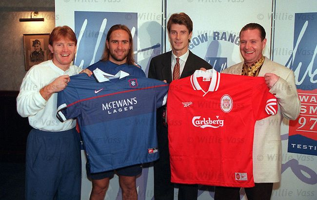 Stuart McCall, Seb Rozental, Brian Laudrup and Paul Gascoigne promote the Walter Smith Testimonial match against Liverpool at Ibrox