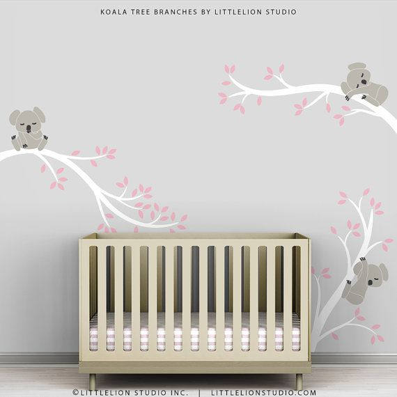 Kids Grey Pink Wall Sticker Decal Decor Baby Room by TheKoalaStore, $79.00