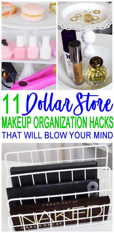 11 Dollar Store Makeup Organization Hacks That Are Borderline Genius Makeup Storage Organization Makeup Organization Diy Diy Makeup Storage