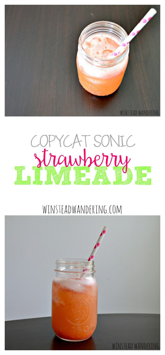 A simple strawberry sauce and store bought soda are all you need to make a copycat sonic strawberry limeade.
