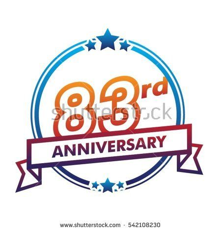 blue circle and star with purple ribbon 83rd anniversary design vector