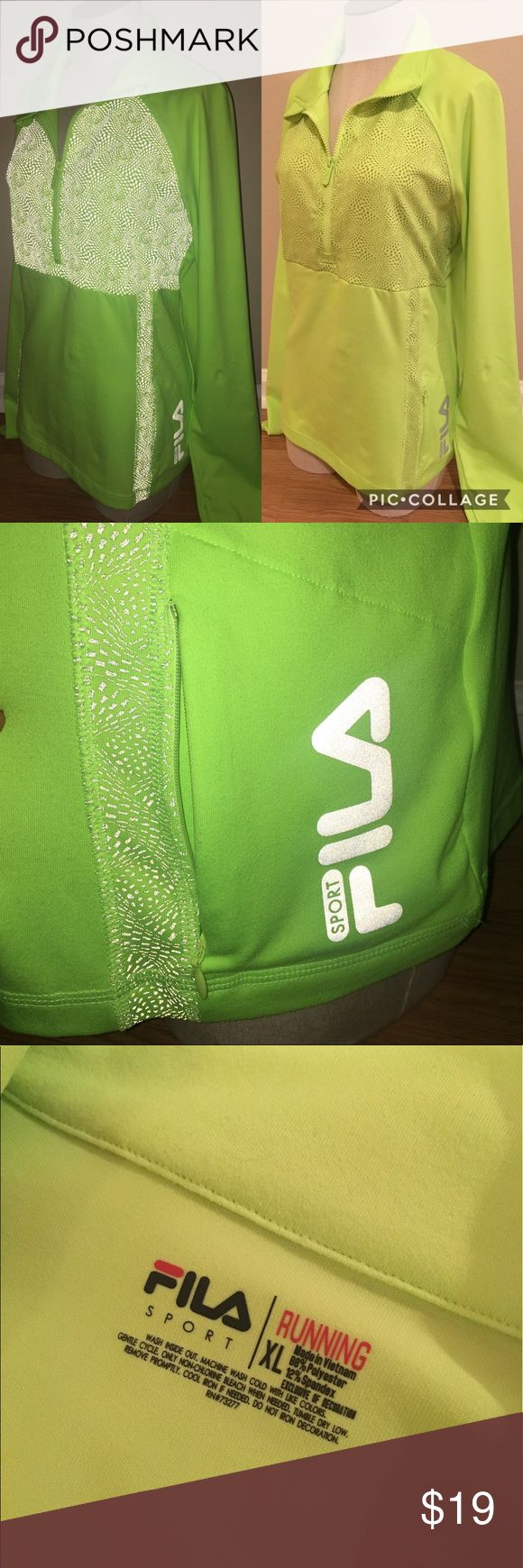 FILA SPORT Women's Lime Green Neon Running Jacket FILA Sport size XL. Women's Ladies long sleeve 1/2 zip exercise workout active athletic running jacket pullover.  Solid neon lime green with gray textured detail, thumb hole cuffs.  Mesh panels to keep you cool and flat seams to minimize irritation.  Zip media front pocket, reflective logos on the back, super stretch.  Made of 88% polyester and 12% spandex.  Machine washable. NEVER WORN. Fila Tops