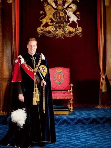 houseofwindsor:  Prince William dressed as the 100th Knight of the Garter, in the Garter Throne Room at Windsor, to celebrate the history of British Royalty as well as the 60th anniversary of the Queen's accession to the throne