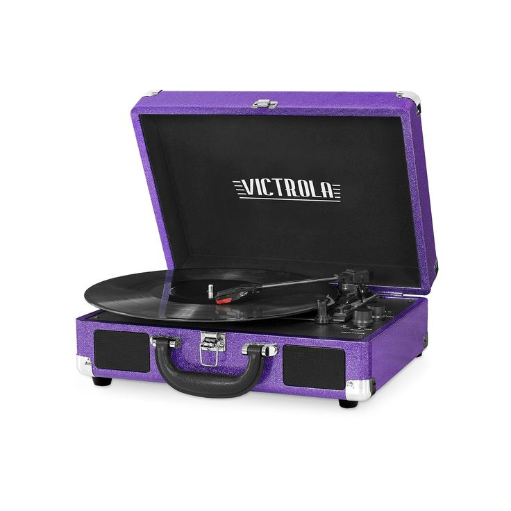 Victrola Patterned Suitcase Record Player with Bluetooth, Purple