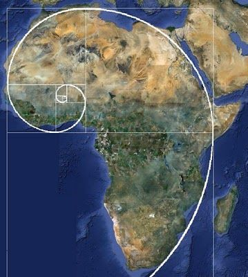 Here you can see that the entire continent of Africa is one giant Fibonacci spiral.