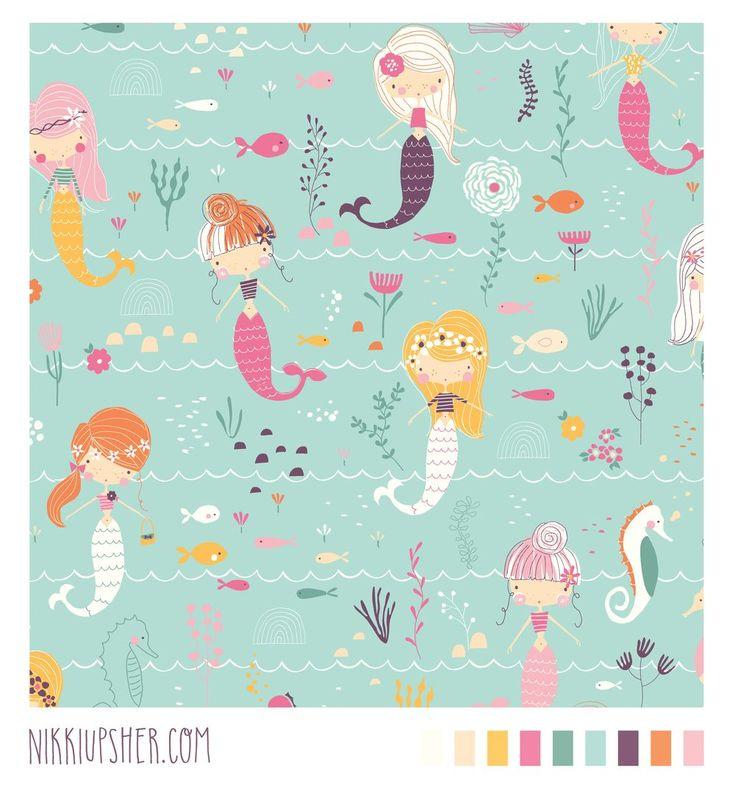 mermaid pattern repeat How cute are these mermaids by Nikki Upsher?