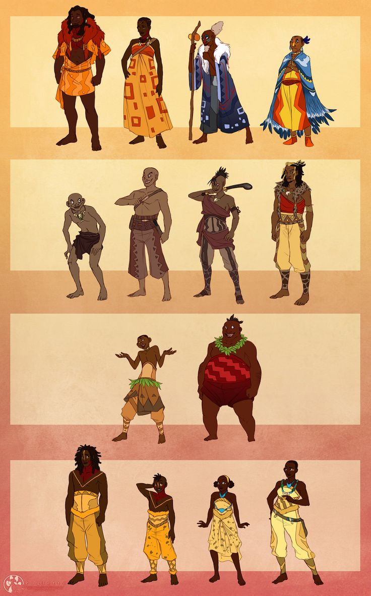 The Lion King: Humanized. This is a really great piece! From top to bottom, left to right: Simba, Nala, Rafiki, Zazu, the three hyenas, Scar, Timon, Pumbaa, adult Kovu, young Kovu, young Kiara, adult Kiara
