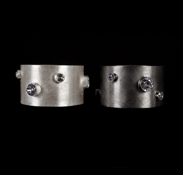 Bracelets by Horsecka Jewelry. Sterling silver plated with fine silver or ruthenium, zircons.