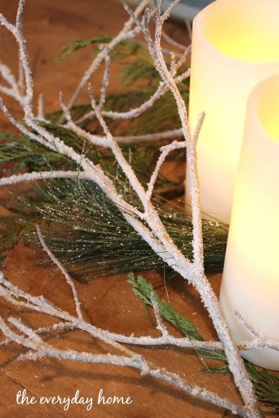 Really easy - only 2 products needed - diy iced winter branches, crafts, how to, repurposing upcycling