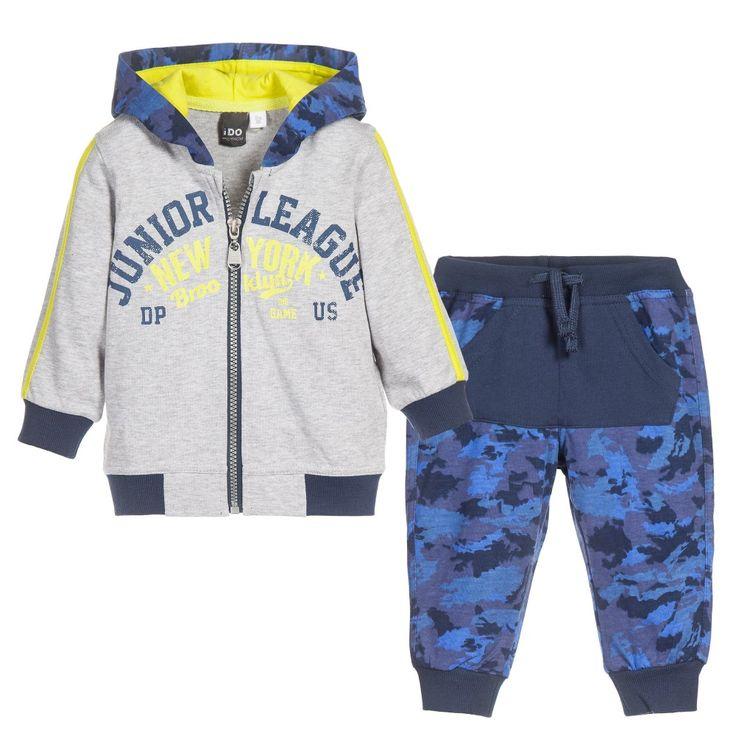Baby Boys Blue Camouflage Tracksuit, iDo, Boy