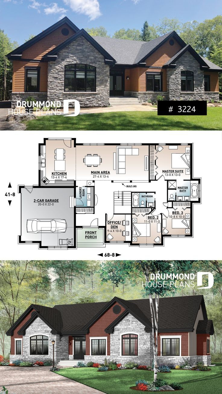 Comfortable 3 To 4 Bedroom Ranch Bungalow House Plan For Corner Lot 9 Ceiling Large Kitchen Isla Bungalow House Plans House Blueprints 4 Bedroom House Plans