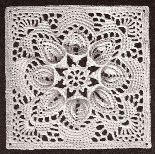 Vintage Crochet PATTERN Bedspread Motif Medallion Block PuritanBedspread