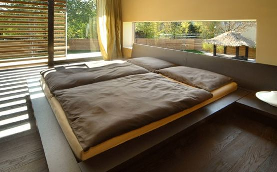 Japanese style platform bed, and window screen