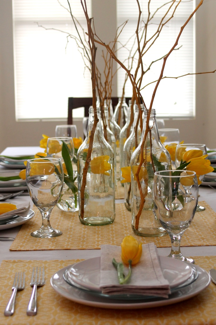 Yellow Branches Very Simple Decor Dining Table