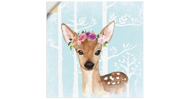 Premium Wandfolie »UtArt: Wild Reh mit Blumen im Wald Illustration«