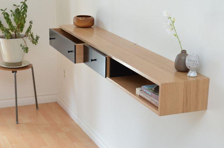 Floating console table white oak shelf. $1,320.00, via Etsy.