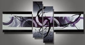 Tableau abstrait violet et noir