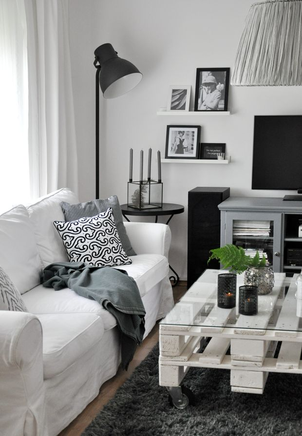 black and white living room, white sofa