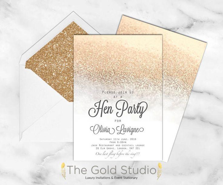 White and Gold glitter Hen Party invitation, Elegant bridal shower invite, hens night invitation, glitter bachelorette DIY printable by TheGoldStudio on Etsy https://www.etsy.com/listing/250190482/white-and-gold-glitter-hen-party