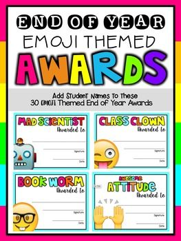 End your year with many emojitions! Add your student names with ease, using the editable PPT version. Choose from 30 emoji themed EOY Awards: Book WormClass ClownMad ScientistMost CaringQuiet as a MouseMost InquisitiveMost CuriousBravestBest DancerMost PeacefulBest SingerMost Athletic Perfect AttendanceMost Enthusiastic Honest AbeMiss MannersMr.