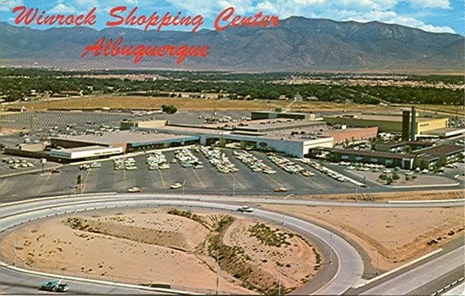 Undergoing a transformation. A classic mid-century modern shopping centre in Albuquerque. Name after Winthrop Rockefeller's Winrock Enterprises