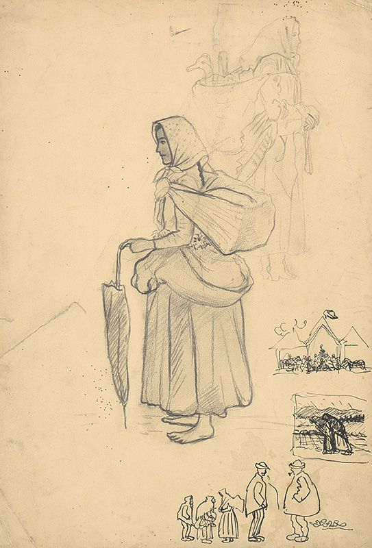 Web umenia | Arnold Peter Weisz-Kubínčan - Skice postáv z jarmoku