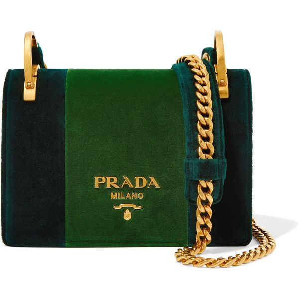 Prada Pattina velvet shoulder bag ($1,970) ❤ liked on Polyvore featuring bags, handbags, shoulder bags, prada, emerald, antique purses, velvet handbags, shoulder strap purses, evening handbags and evening purses