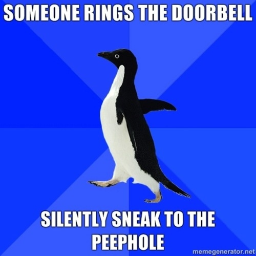 """Someone rings the doorbell. Silently sneak to the peephole."" Socially Awkward Penguin #meme"