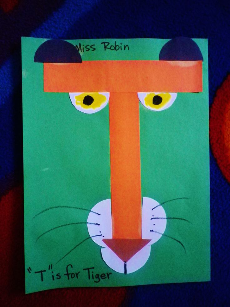 T is for Tiger! Children place the letter on the sheet, then using half circles for the rest of the tiger's features aside from the triangle nose. Pupils and whiskers are drawn on by the children too. Some chose to add stripes too.