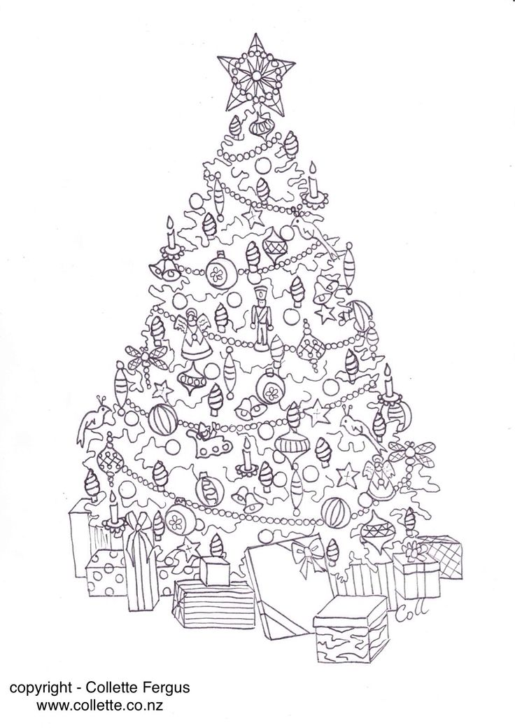 FREE Christmas Tree Adult colouring page designed by Collette Renee Fergus get it here http://www.collette.co.nz/category/120916