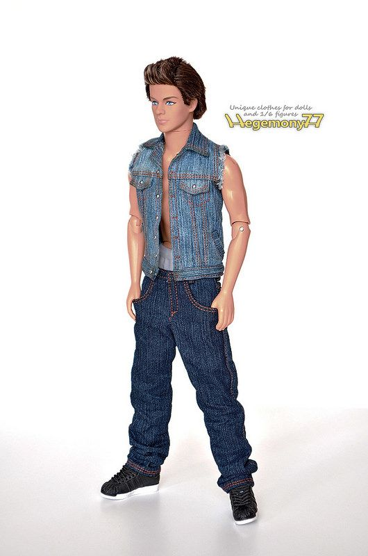 Ken doll in 1/ 6 scale custom made jean jacket with cut off sleeves and baggy blue hip hop rapper jeans pants