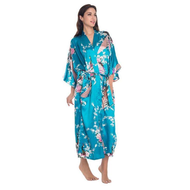 Niebieski Chińskich Kobiet Długi Silk Robe Kimono Yukata Wanna Suknia Sexy bielizna Nocna BR035 Kwiat Plus Rozmiar S M L XL XXL XXXL