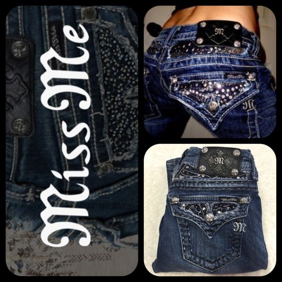 """🌹SALE🌹Miss Me Rhinestone Bootcut Jeans JE5414BR Like new, only got to wear these beauties once! Gorgeous detail, little distressed, dark denied. Inseam is 31""""Long. Size is 24, but I was a size 25 and they fit loosely. Semi-flared bought from Buckle Store online!!💔Trade Free Closet 💔Lowball offers will be declined 💔Drama / Rude Free  ✅Smoke Free Home ✅I Have Kitty Cats {I may not get every single hair off item, but I try my best} 🌸Thank you for checking out my closet! Miss Me Jeans Boot…"""