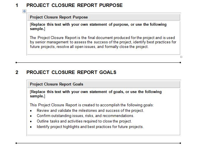 Project Closure Report Template Download for Complete Project - sample project report