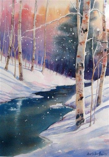 Ontario Winter by Ann Fullerton - again with the impossible watercolor. Loveliness