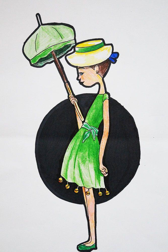 LA TARARA la tarara si; la tarara no; la tarara, niña que la eh visto yo.  lleva la tarara un vestido verde lleno de volantes y de cascabeles. la tarara si; la tarara no; la tarara niña que la eh visto yo luce mi tarara su cola de seda sobre las retamas y la hierba buena. ay, tarara loca. mueve la cintura para los muchachos de las aceitunas. #ilustracion #niña #tarara #verde #jakewatter