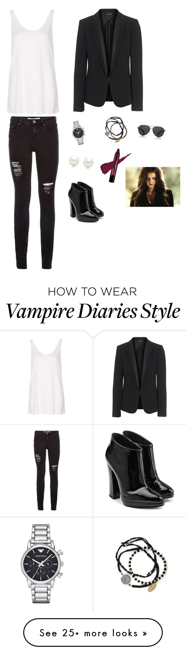 """""""Untitled #767"""" by francyrizzo on Polyvore featuring Topshop, rag & bone, Emporio Armani, Feather & Stone, The Row, Tiffany & Co. and Giuseppe Zanotti"""