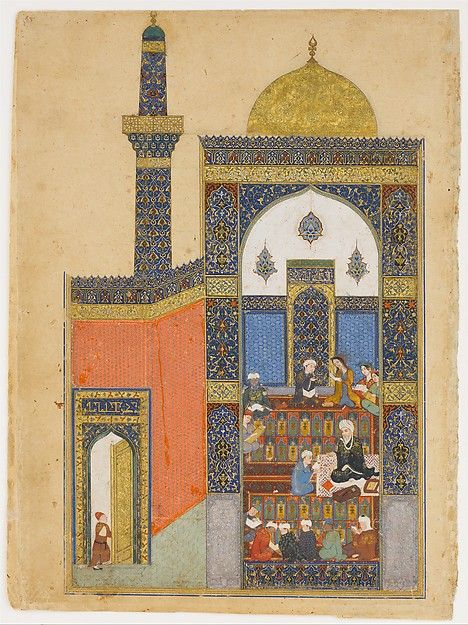 """Laila and Majnun at School"", Folio from a Khamsa (Quintet) of Nizami Calligrapher: Ja'far Baisunghuri (active first half 15th century) Author: Nizami (Ilyas Abu Muhammad Nizam al-Din of Ganja) (probably 1141–1217) Object Name: Folio from an illustrated manuscript Date: A.H. 835/ A.D. 1431–32"