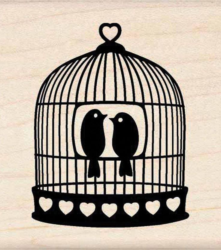Inkadinkado Rubber Stamp-Heart Bird Cage