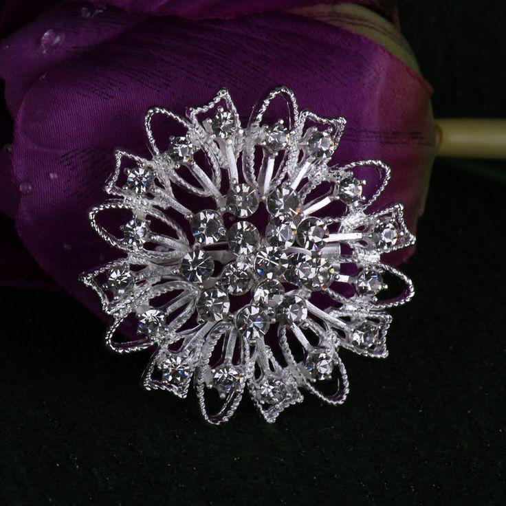 Дешевые оптовая продажа брошь / серебряный тон ясно хрустальный цветок малый брошь для свадебные приглашения / торт украшения B029