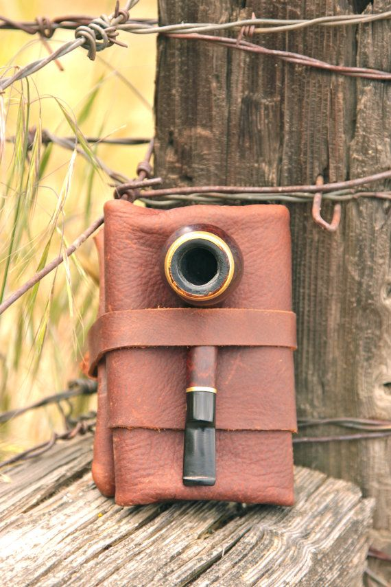 Great Fathers Dat gift!!! Dark Brown Roll-up Leather Pipe Case. Has 3 big compartments for pipes, tobaco bags and pipe cleanets. And two small pockets for lighter and
