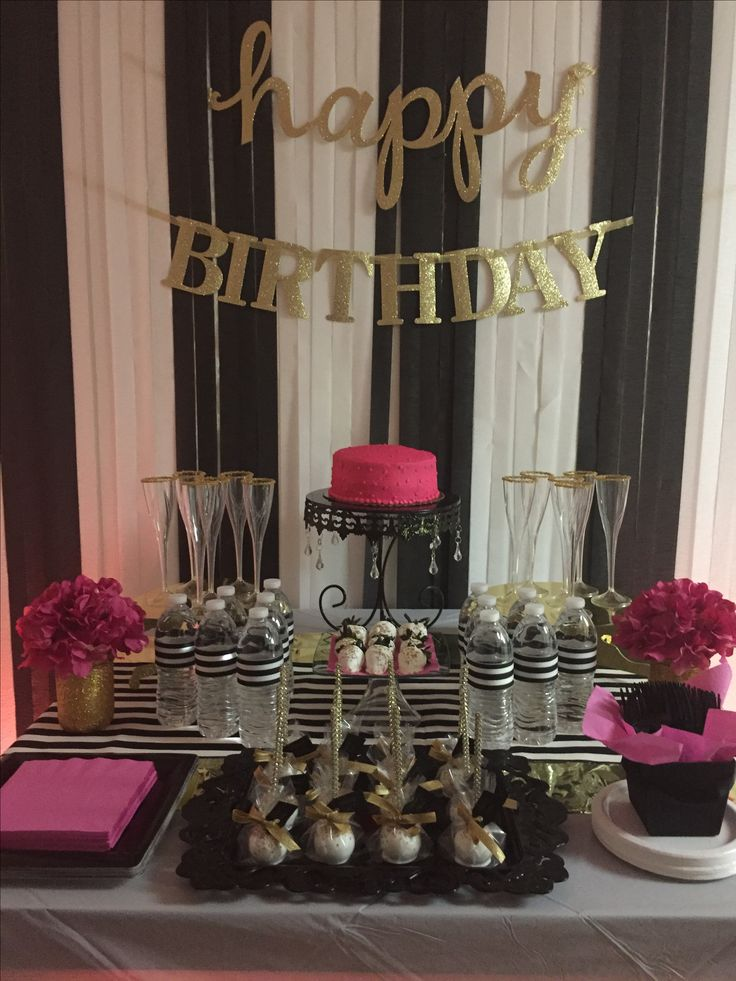 40th Birthday Bash I put together. Kate Spade inspired. #partyideas #birthdayparty #blackwhitegold #backdrop #diy