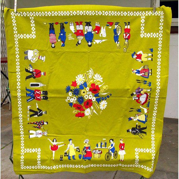 Vintage Danish Tablecloth Folk People of the World