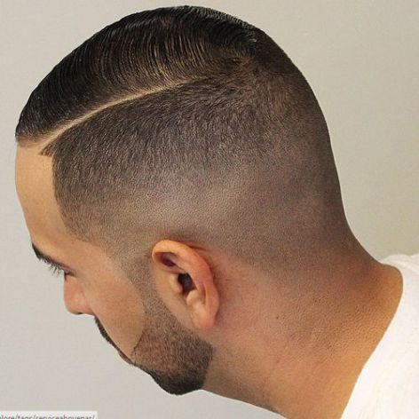 side-parted fade haircut for fine hair